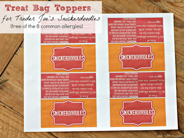 Snickerdoodles Treat Bag Toppers