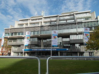 Pic of QEII Centre with flags for Biometrics 2014 outside