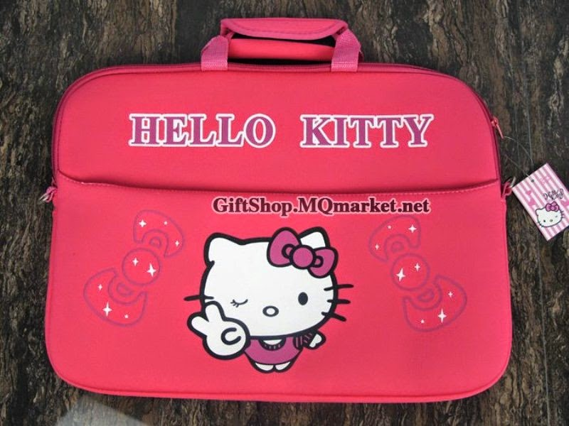 Gambar tas laptop hello kitty warna merah