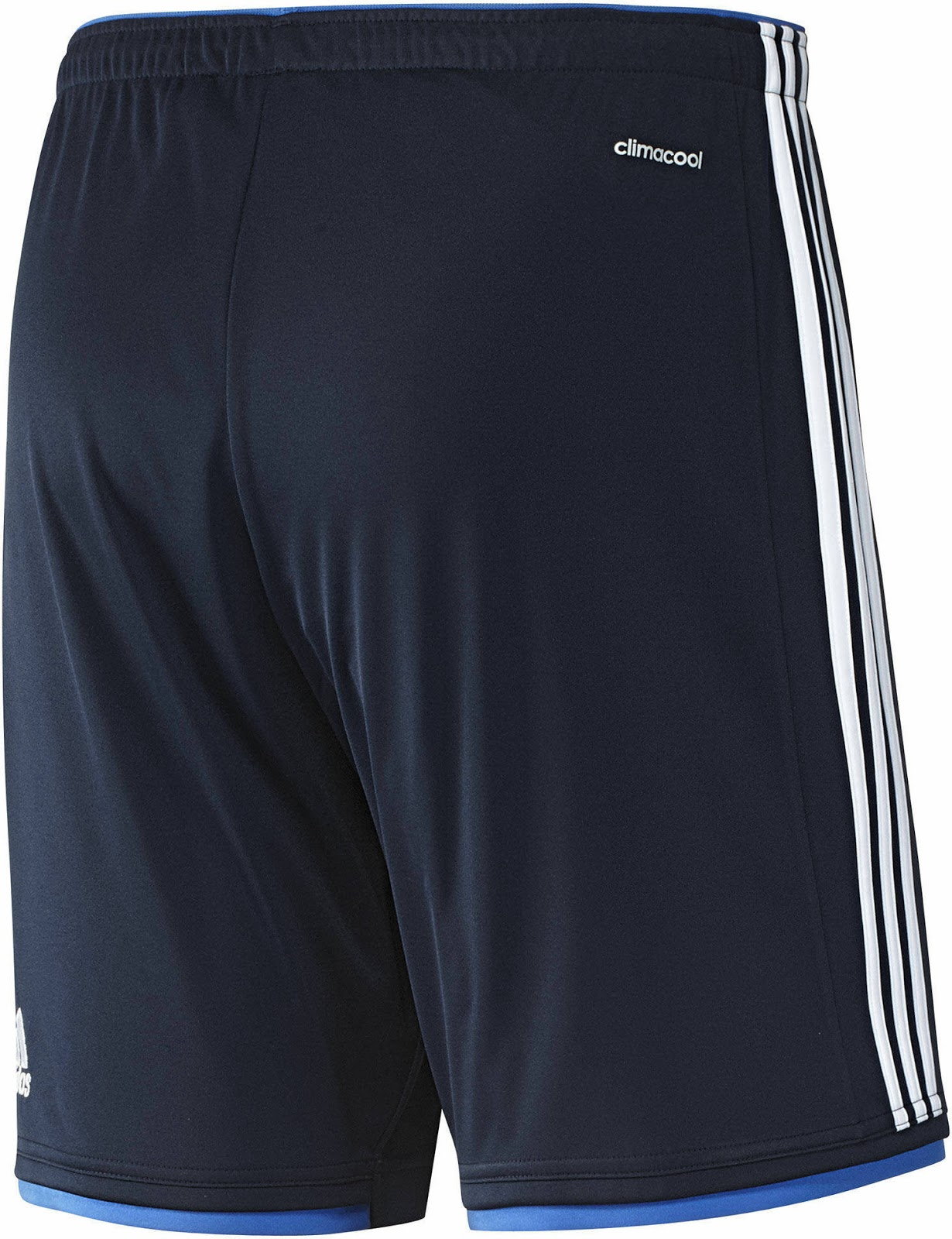 a170a940c The shorts of the Denmark 2014 Away Shirt are navy with light blue details  and white Adidas stripes.