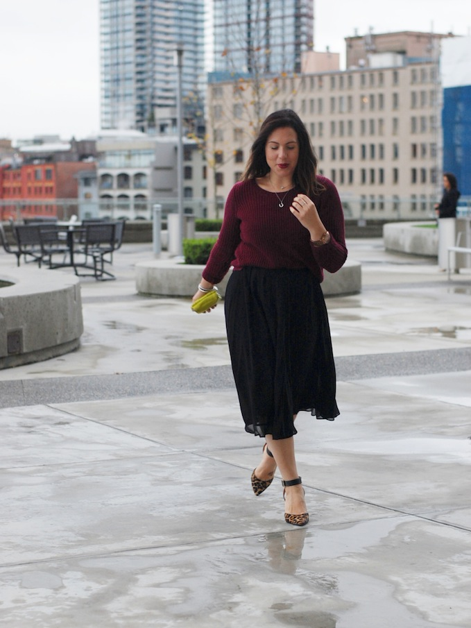 Le Chateau wool sweater and H&M midi skirt Vancouver fashion blogger