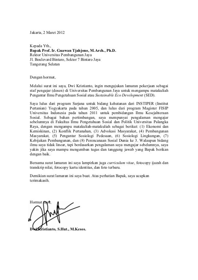 Contoh Surat Lamaran Kerja Doc Terbaru