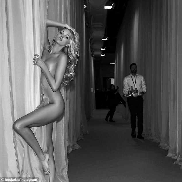Elsa Hosk goes naked backstage at the Victoria's Secret Fashion Show '15