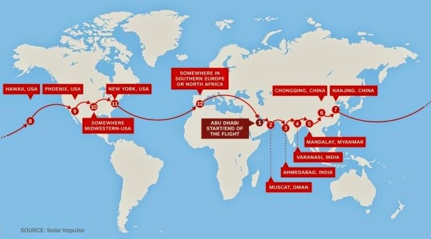 Το ταξίδι του Solar Impulse 2 γύρω από τη γη με τις στάσεις που θα κάνει