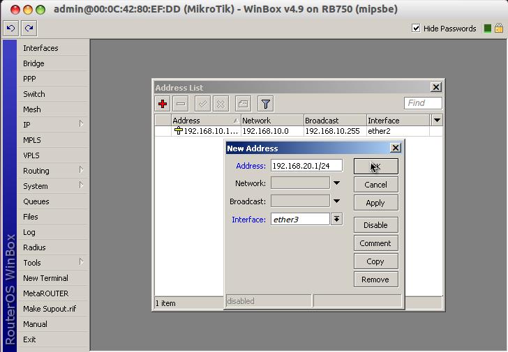"""Beri IP pada Ether2, Klik Icon """"Tambah (warna merah)."""