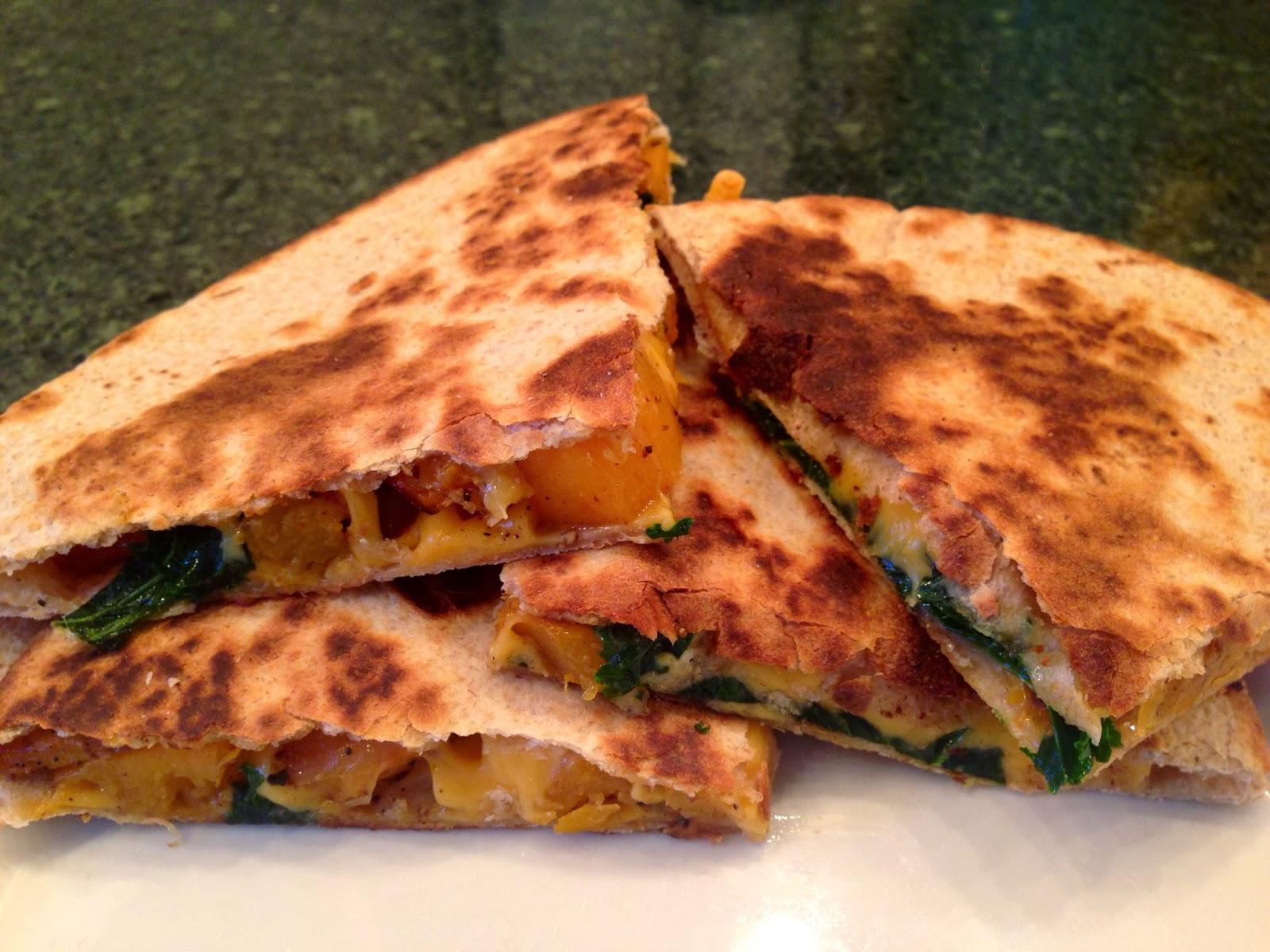 chanes of love : butternut squash & kale quesadilla