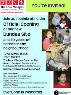 Invitation Opening of The  Four Villages Community Health Centre new Dundas Site, Toronto Junction