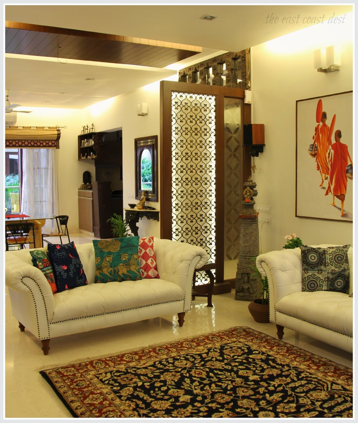 The east coast desi masterful mixing home tour for Living room partition designs in indian