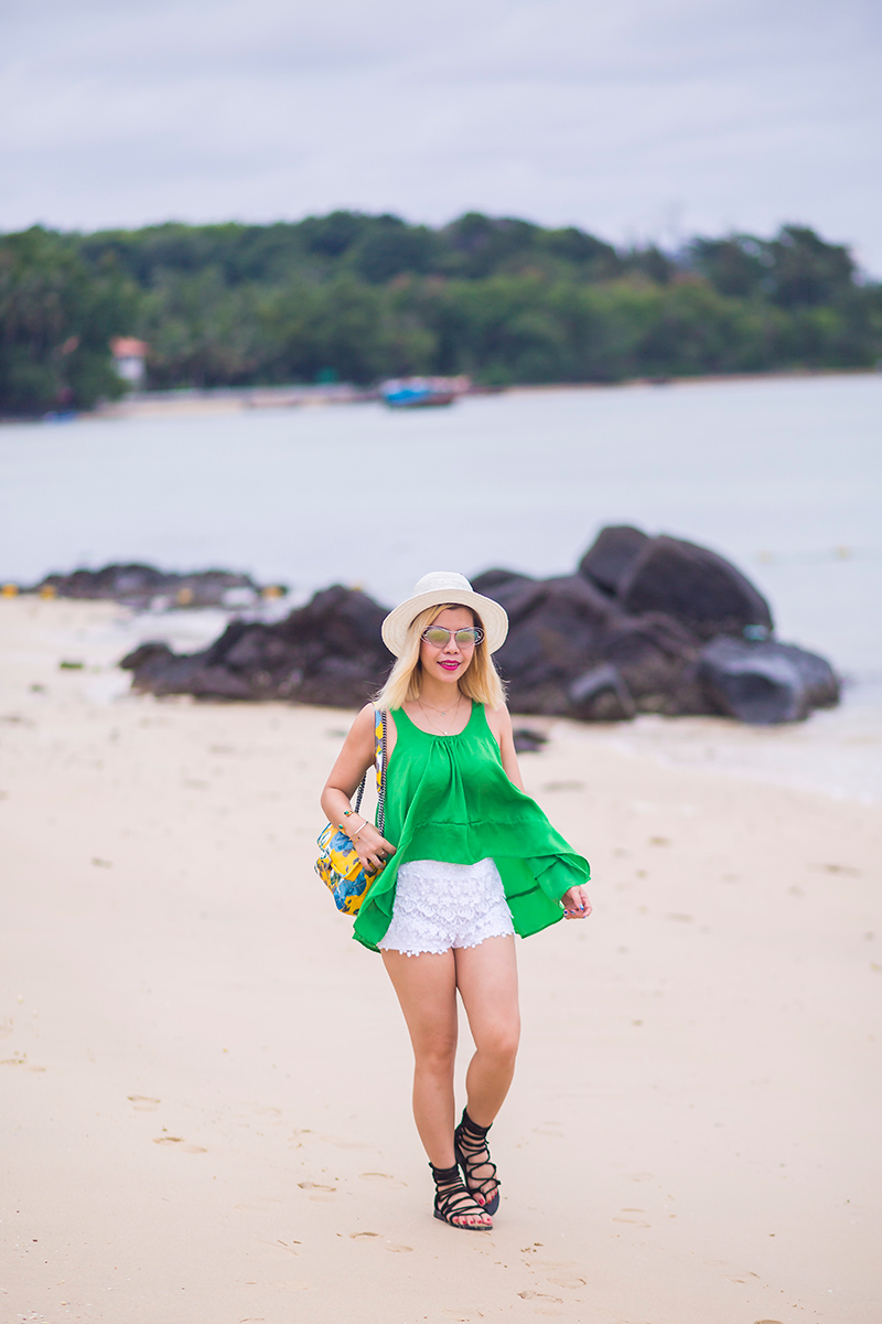 Lace shorts, Silk tank top and gladiator sandals in Panwa Beach
