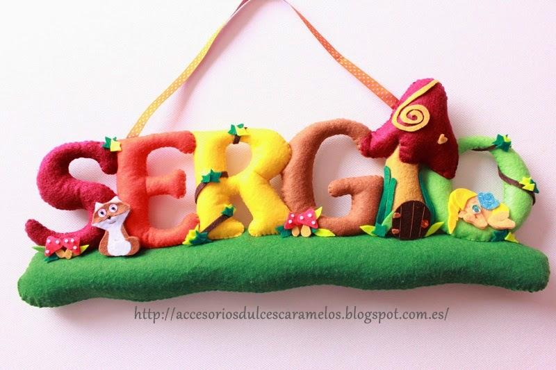 Nombre de fieltro para Sergio, bosque encantado con duendes