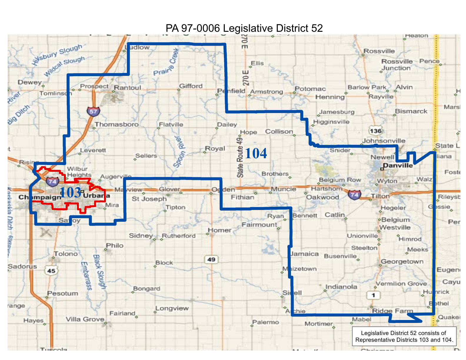 map of realigned illinois state senate district 52 and state representative districts 103 and 104