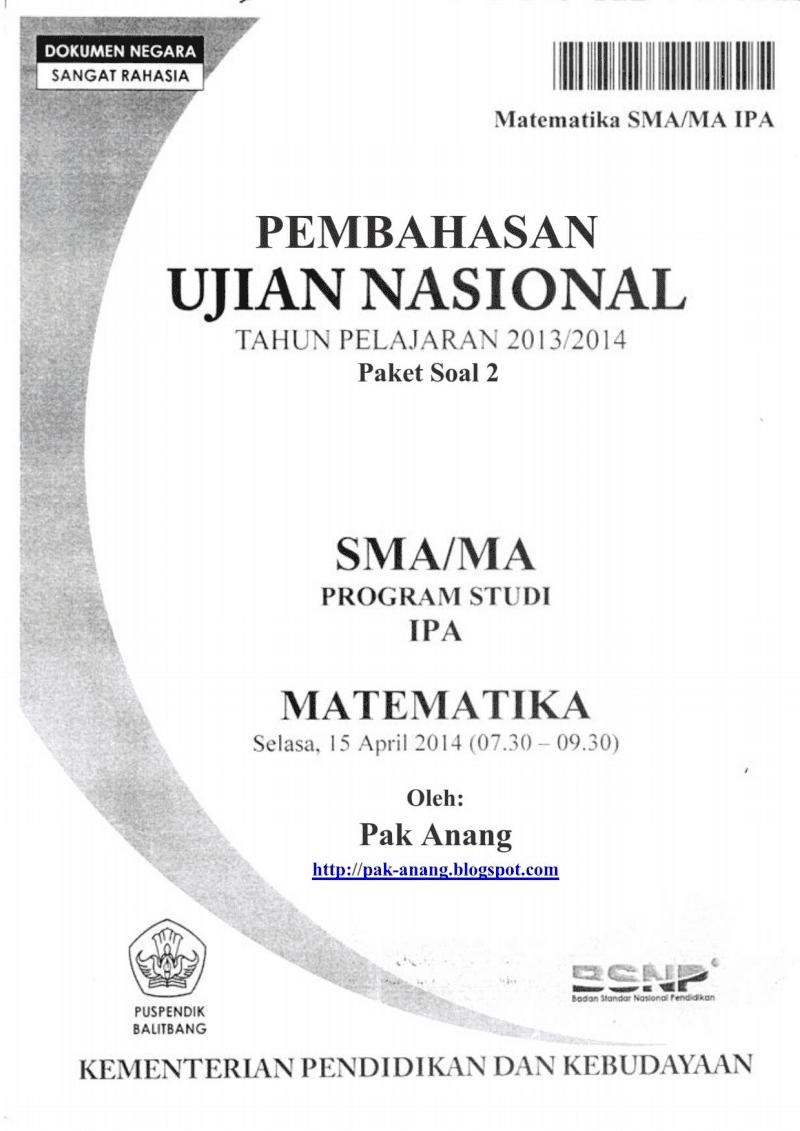 Pembahasan Soal Un Matematika Plan Ipa Sma 2014 (Trik Superkilat) (Paket 2)