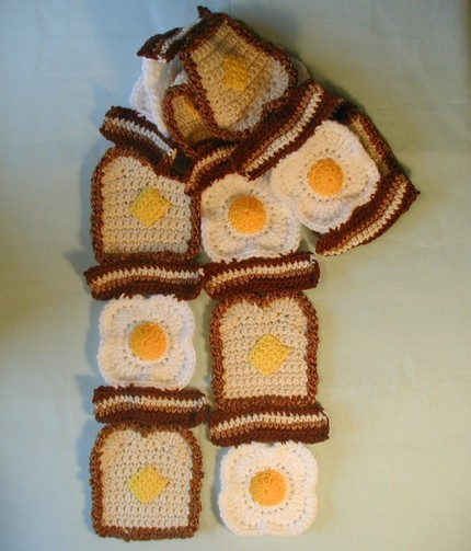 Bacon Dippers Gallery: Bacon Egg Crocheted Scarf