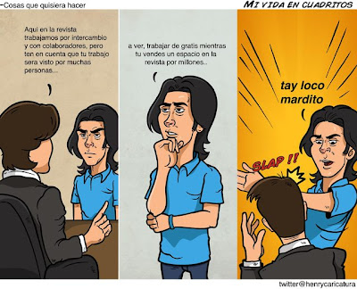Imagen de un comic: No regales tu trabajo, no aceptes trabajar gratis