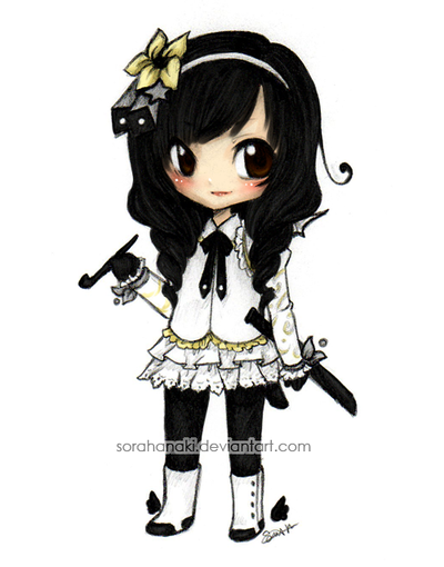 Anime chibi cute girl friend