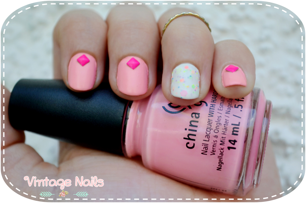 nail art, manicura, manicure, vintage nails, china glaze, yes love, born pretty store, tachuelas, feel the breeze, neon glitter