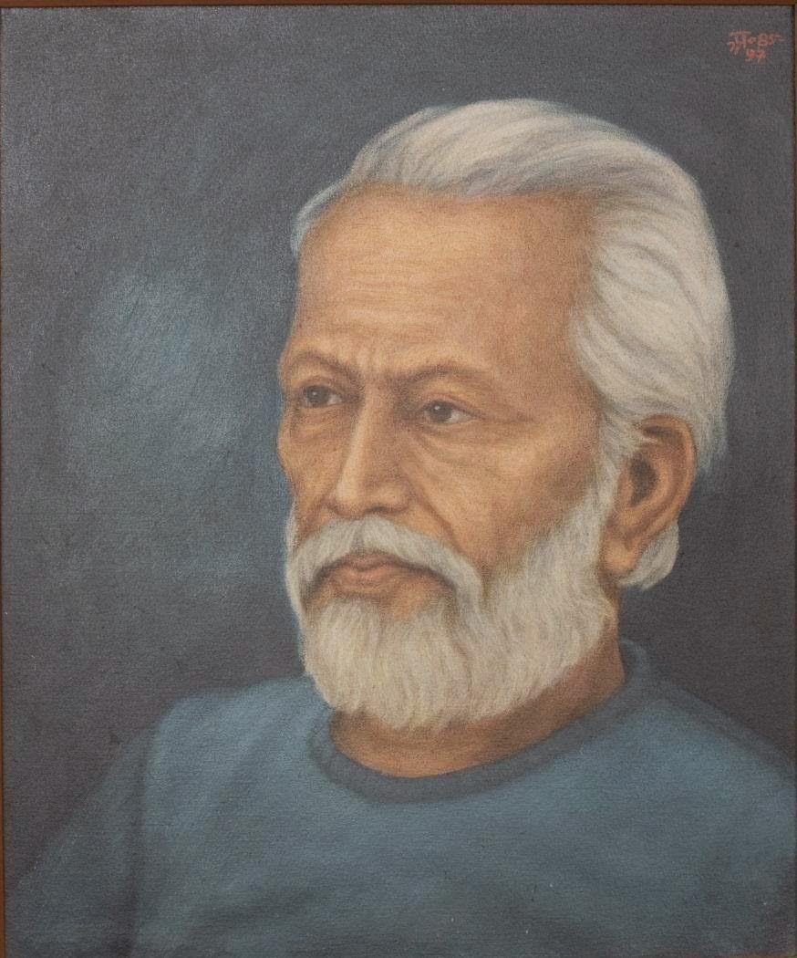 Hungryalist painter Karunanidhan Mukhopadhyay. Oil painting by Anil Karanjai