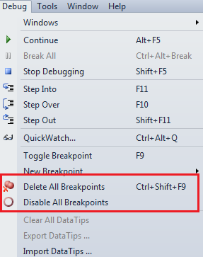 disable all breakpoints in ssms