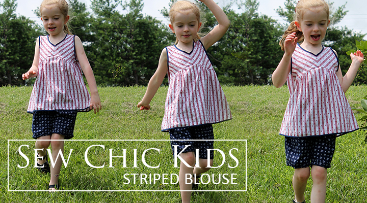 Classic striped blouse sewn from Sew Chic Kids | The Inspired Wren
