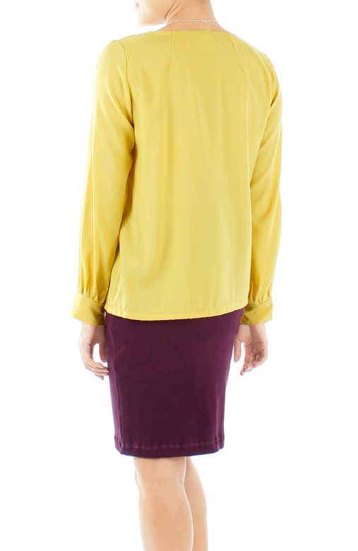 Yellow Board Room Pintuck Long Sleeve Blouse