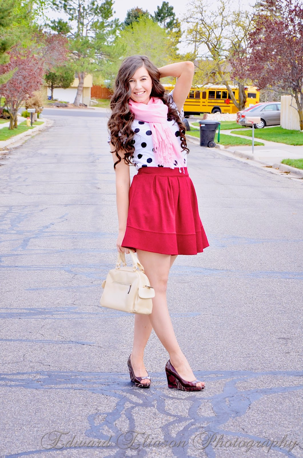 sheinside, edward eliason photography, snake skin heels, red fit and flare skirt, flared skirt, red skirt, red flared skirt, polka dot shirt, polka dots, pink scarf, pop of pink, outfit, clothing,