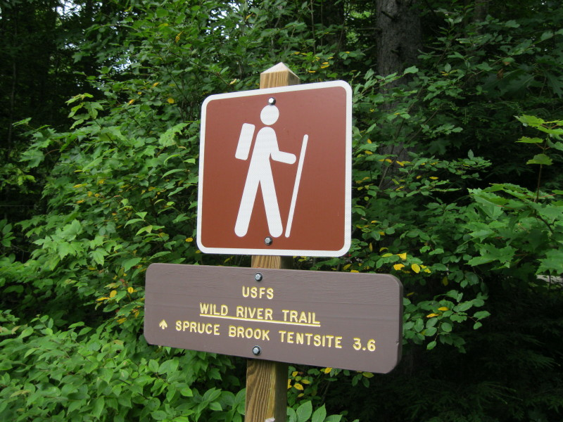 The Wild River Trail makes a detour through the woods around the c&ground then picks up the grade of the 1890s vintage Wild River logging railroad. & Mountain Wandering