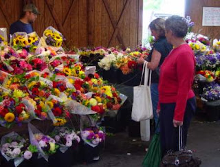 Lynch Creek dahlia bouquets at the market in late summer