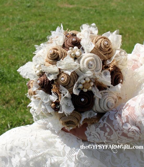 vintage burlap  and lace bridal bouquet