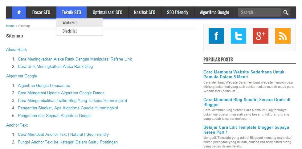 Cara Membuat Daftar Isi / Sitemap di Blog secara Otomatis