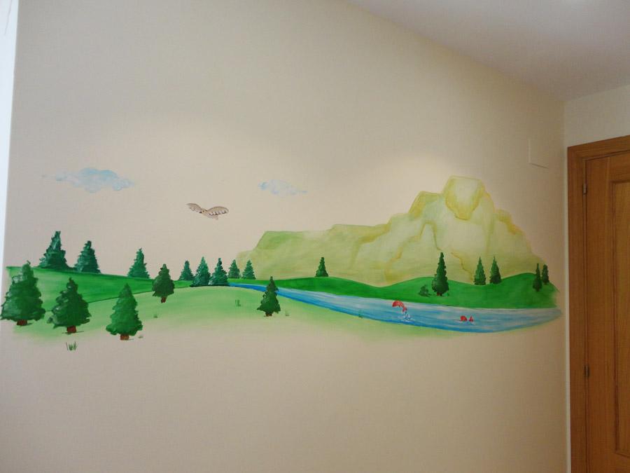 Decopared mural pintado paisaje para cuarto de beb - Mural para habitacion ...