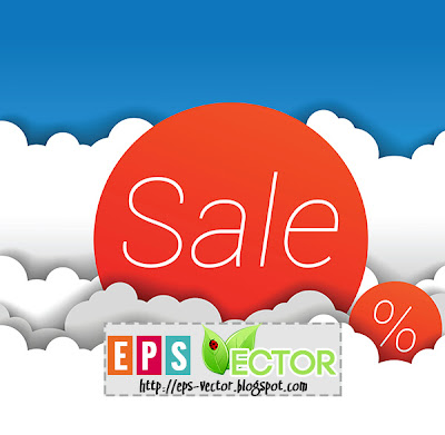 [Vector] - Sale icon with clouds background