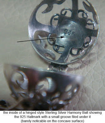 image showing groove under 925 stamp inside genuine harmony ball