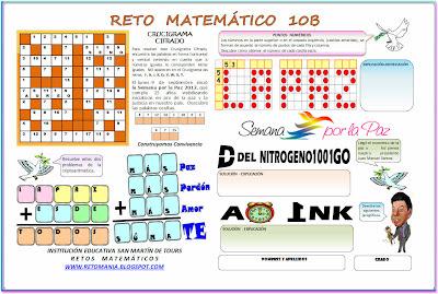 Retos Matemáticos, Problemas matemáticos, Problemas de ingenio matemático, Crucigramas, Criptoaritmética, Alfamética, Jeroglíficos, Descubre el número