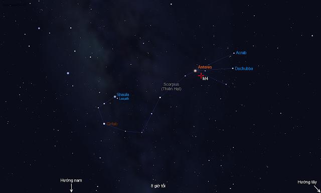 Tìm cụm sao cầu M4 từ Trái tim của con bọ cạp Scorpius.