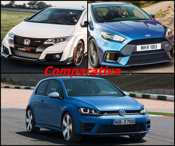 Comparativa entre Ford Focus RS, Honda Civic Type-R y Volkswagen Golf R