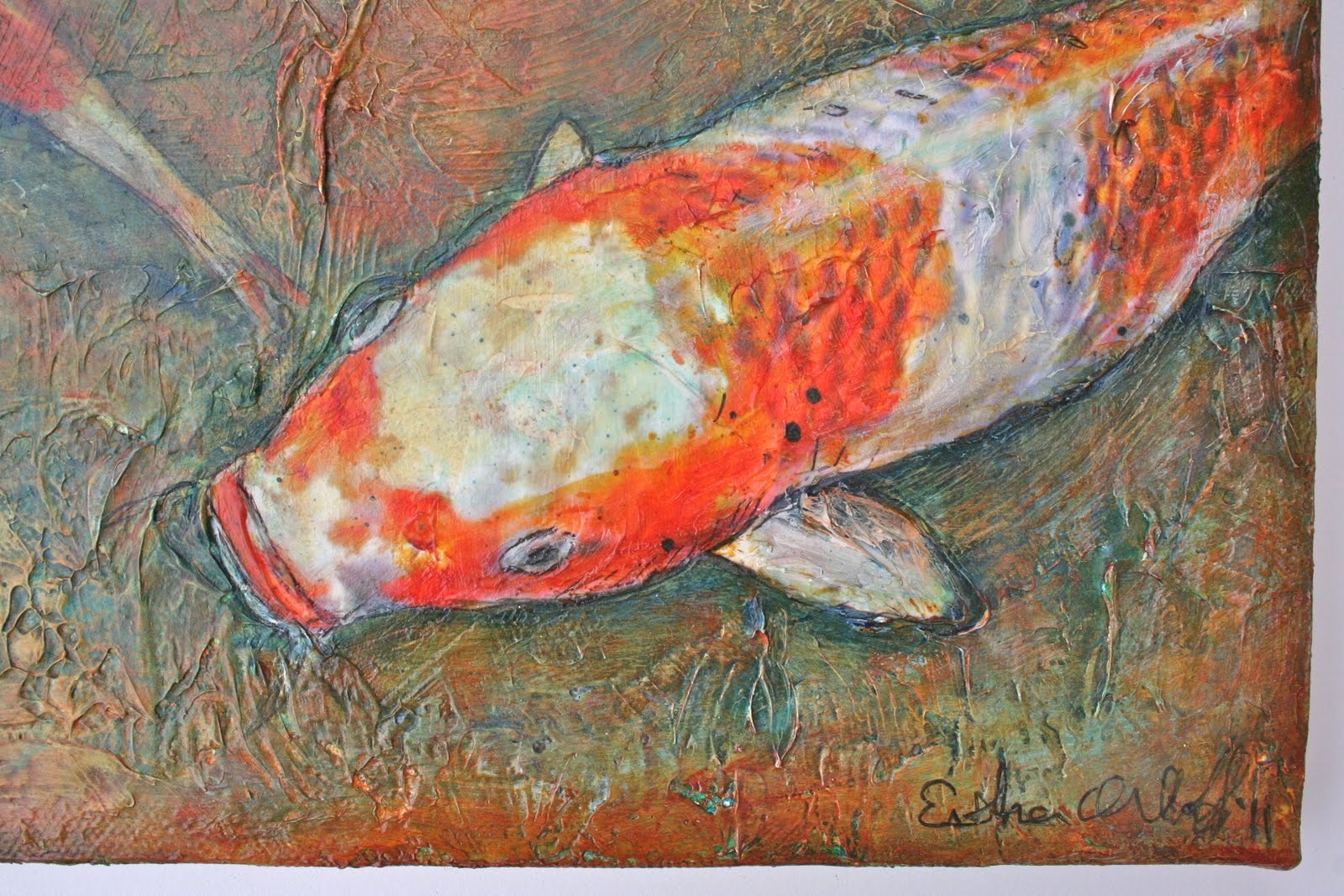 E makes art orange post koi carp for Orange koi carp