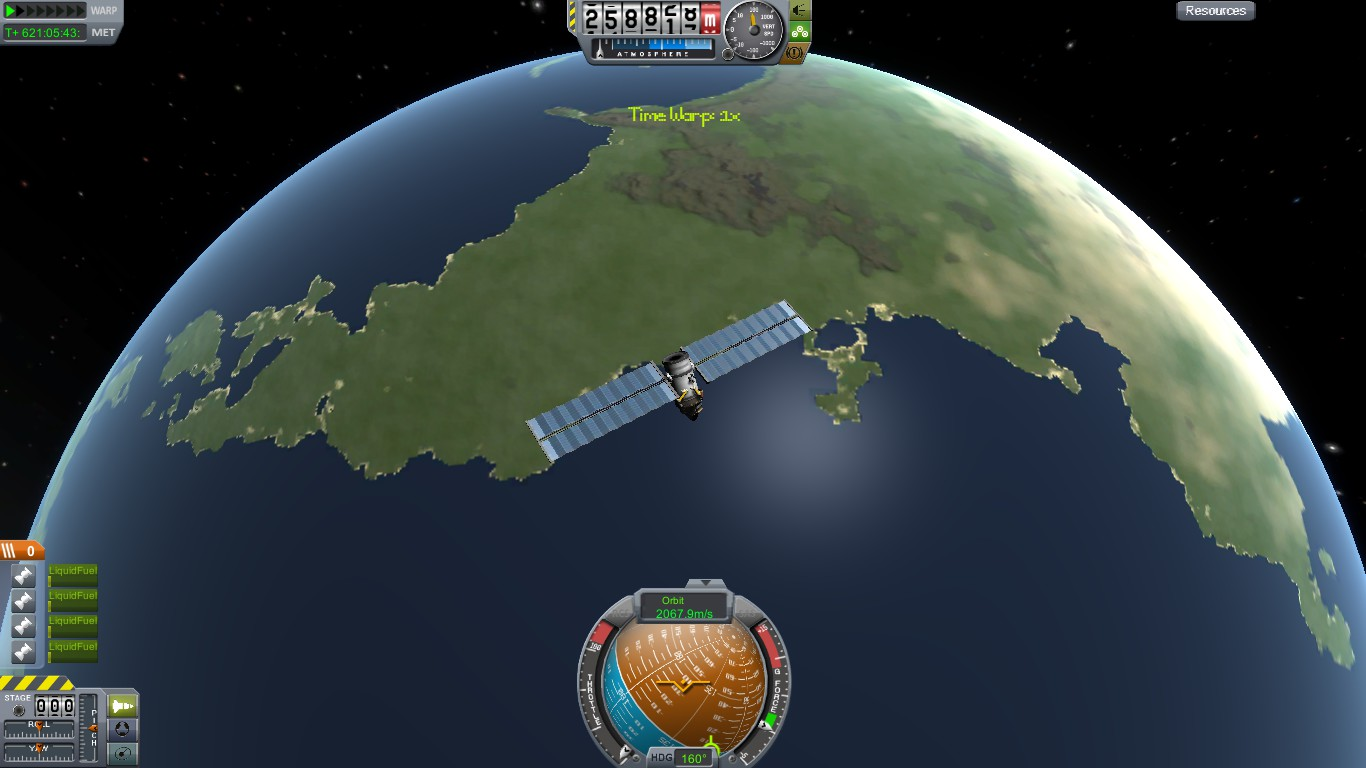 the first achievement most players make is to make it into orbit this satellite was the first stable orbit i created after several failed launches
