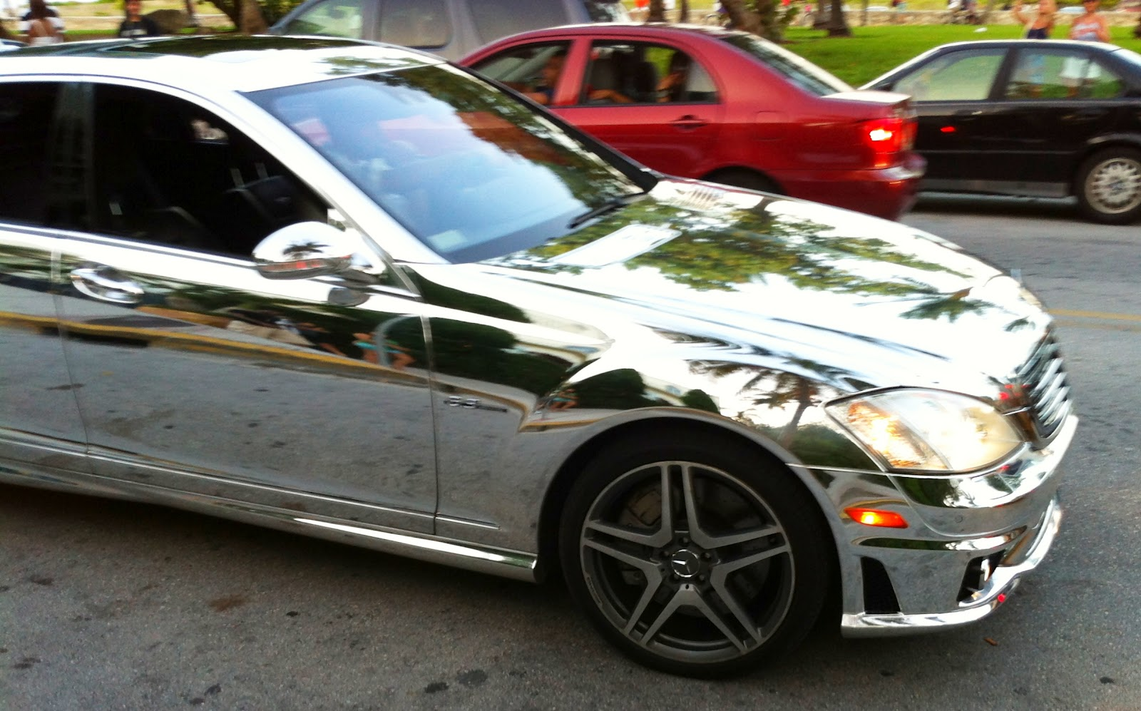 chrome mercedes benz s63 on miami beach exotic cars on