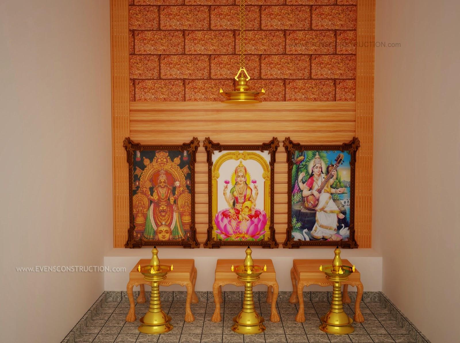 Evens construction pvt ltd pooja room interior for Pooja room interior designs