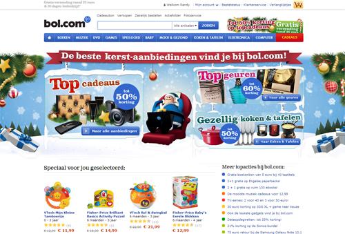 De homepage van Bol.com