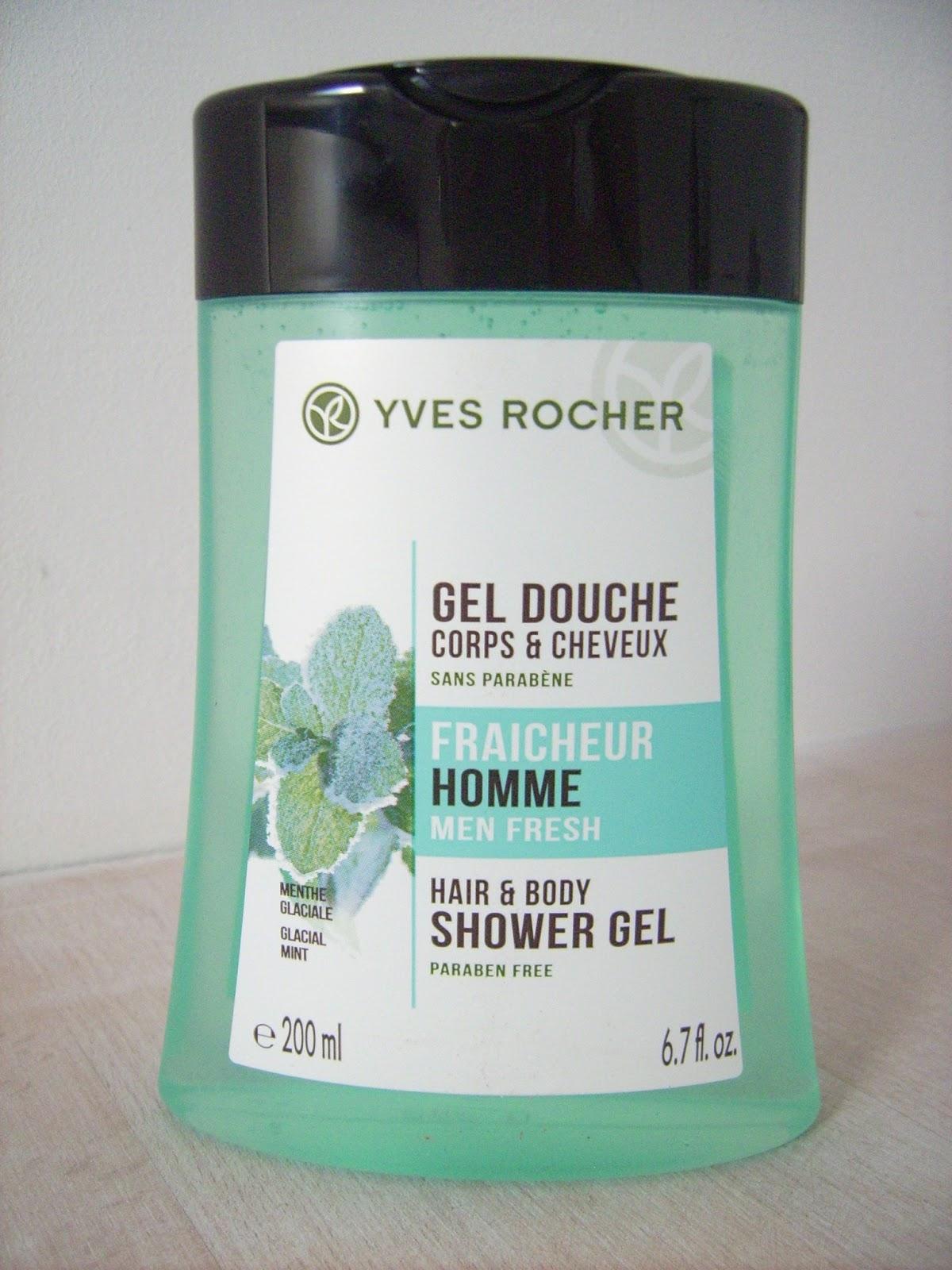 mint shower gel for men yves rocher