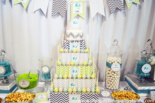 Decoración de Baby Shower en Azul Marino y Verde lima - Baby Shower ...