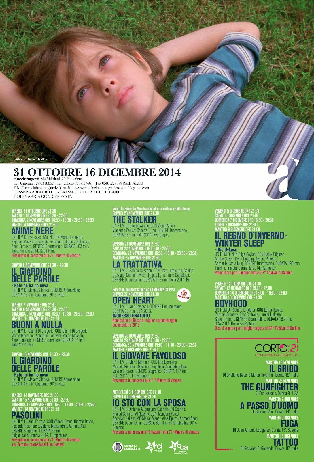 Programma dal 31 ottobre al 16 dicembre 2014