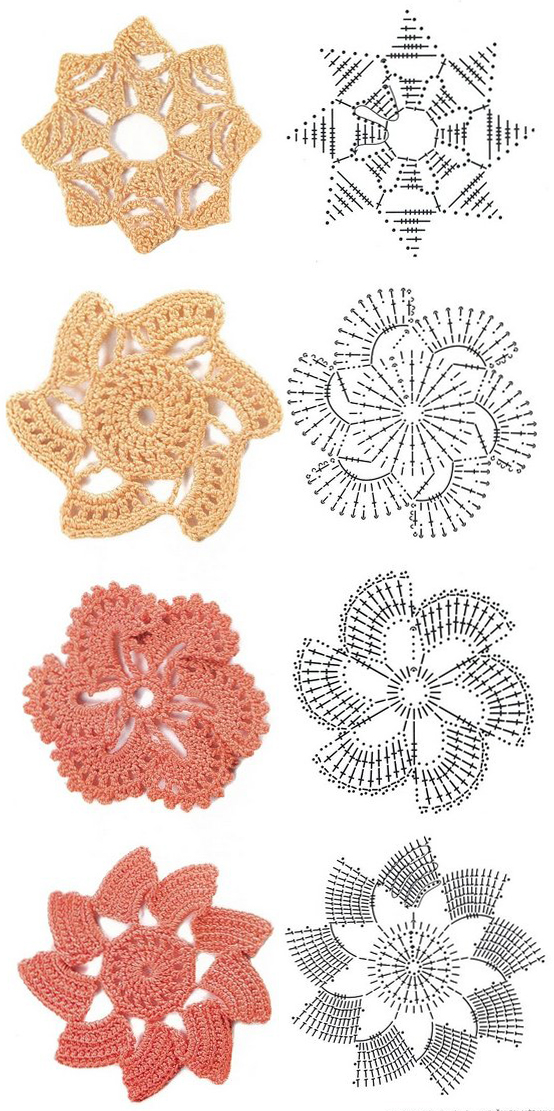 Crochet Diagram : Share Knit and Crochet: Crochet flowers diagram 1