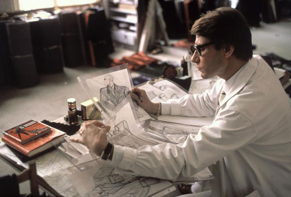 Yves Saint Laurent at his studio