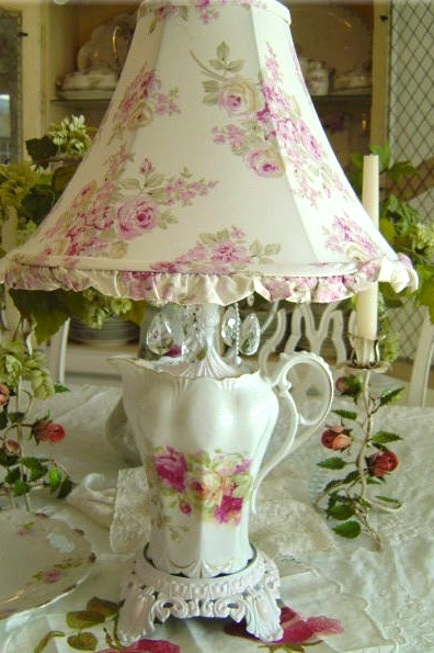 tea pot lamp shabby chic