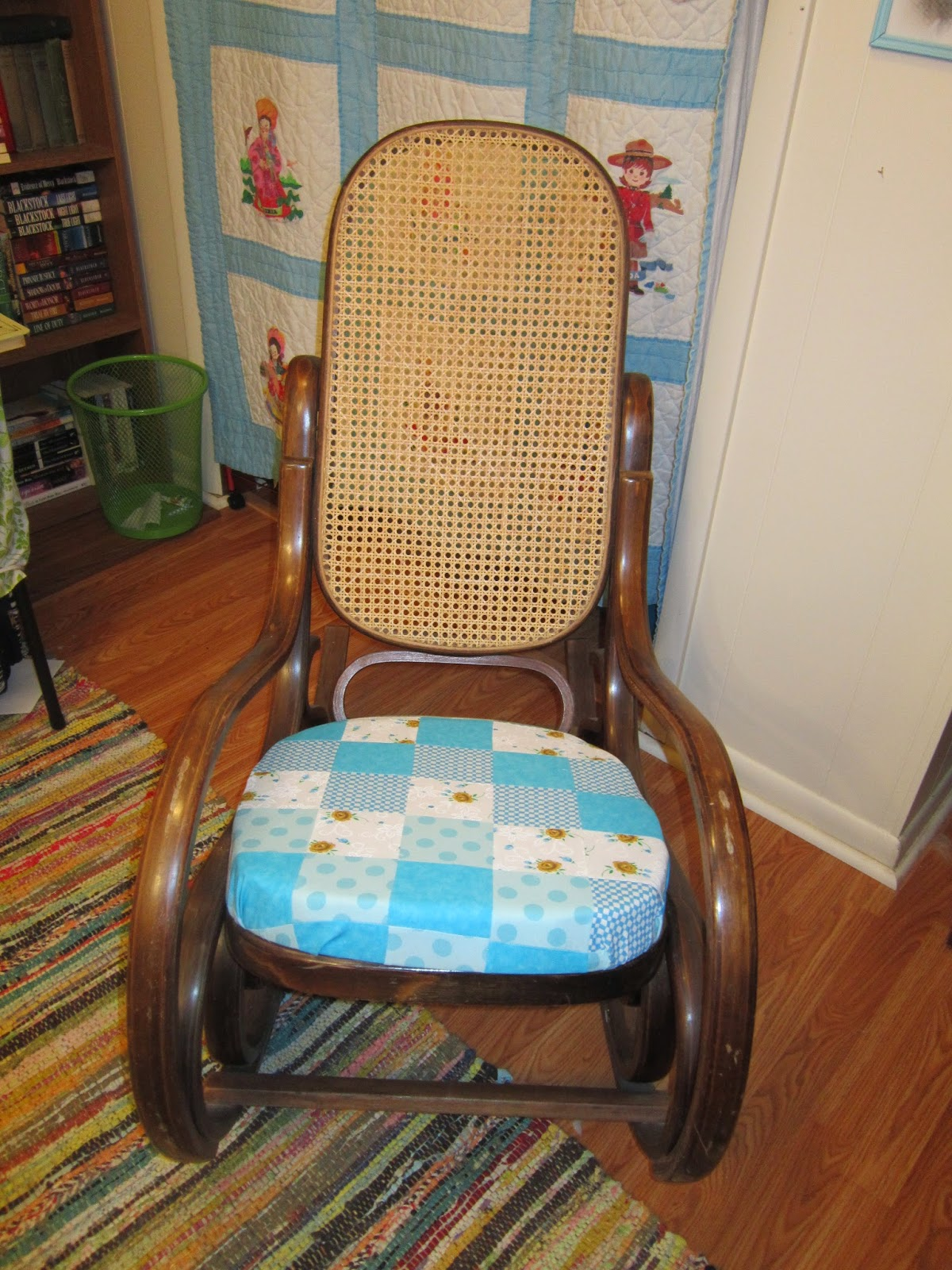 I Bought This Rocking Chair At An Auction For $8. The First Time I Sat In  It, I Plopped Down And Broke The Seat! My Husband Cut Out A New Seat For ...