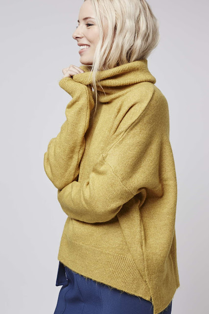 topshop yellow neck jumper, zip back yellow jumper, topshop mustard jumper,
