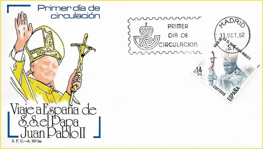 Sobre Primer Día de Circulación sello Viaje a España de Juan Pablo II