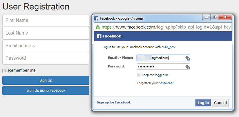 Simple login and sign up using facebook javascript sdk